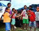 Marc Argeloo with kids in Wamena