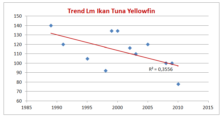 Grafis tren dewasa tuna sirip kuning